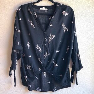 Lovestitch High Low Boho Floral Tie Sleeve sz L